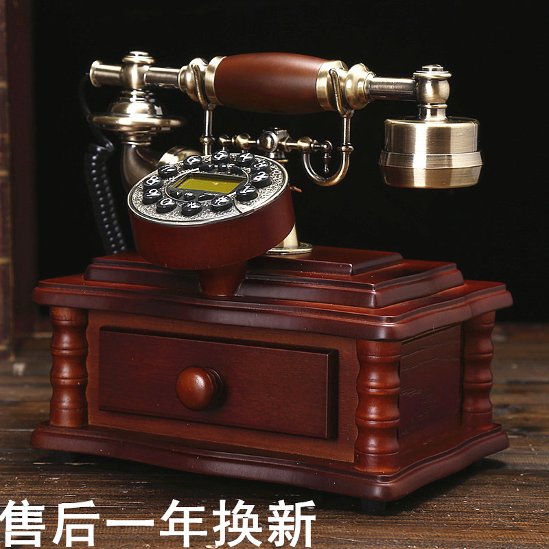 Ye are top wood antique antique telephone retro European garden home phone office landline phone Dial number Decoration home