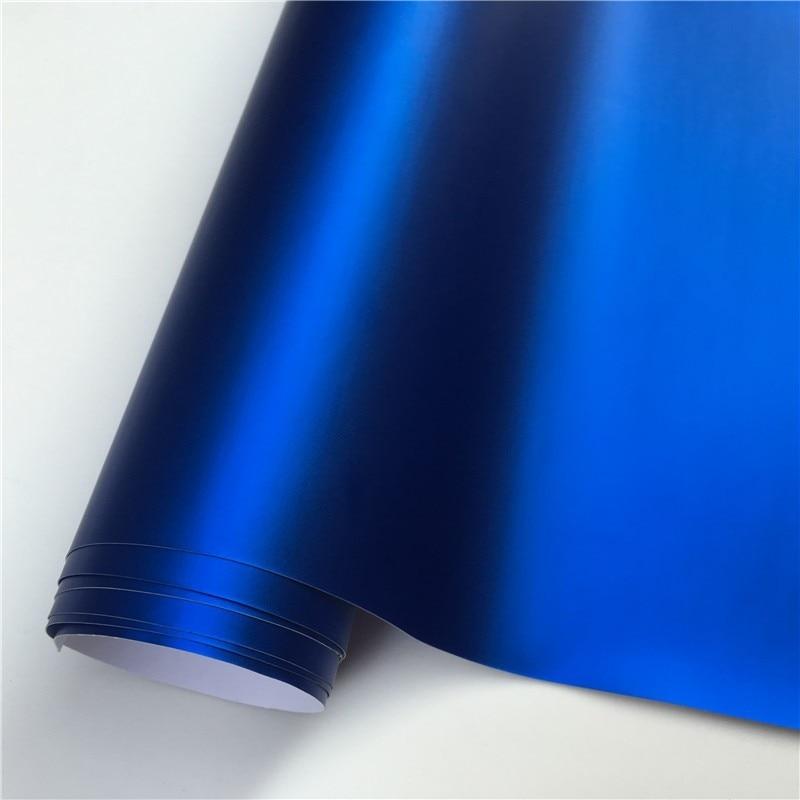 14 цветов, красный, синий, золотой, зеленый, фиолетовый матовый атлас, хром, виниловая пленка, наклейка, без пузырей, автомобильная пленка - Название цвета: Dark Blue