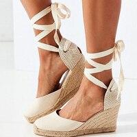 Wedges Shoes For Women Sandals Espadrille Ankle Strap Platform High Heels Flax Hemp Pumps Woman