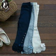 Solid Color Korean Cotton Lace Children's Leggings Spring Autumn Mid Waist Bow Tie Girls  Leggings 3 Color AB830
