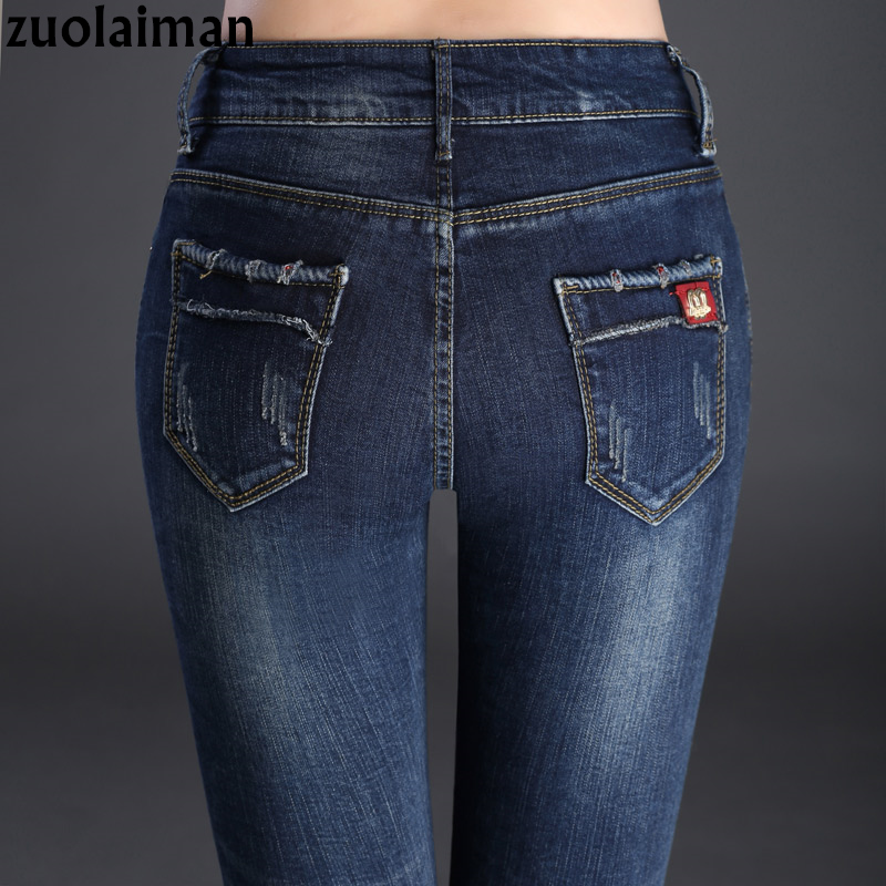 zuolaiman Vintage Women Jeans Fashion Brand Elastic Mid Waist Skinny Jeans Woman High Quality Cotton Pencil Denim Pants Femme