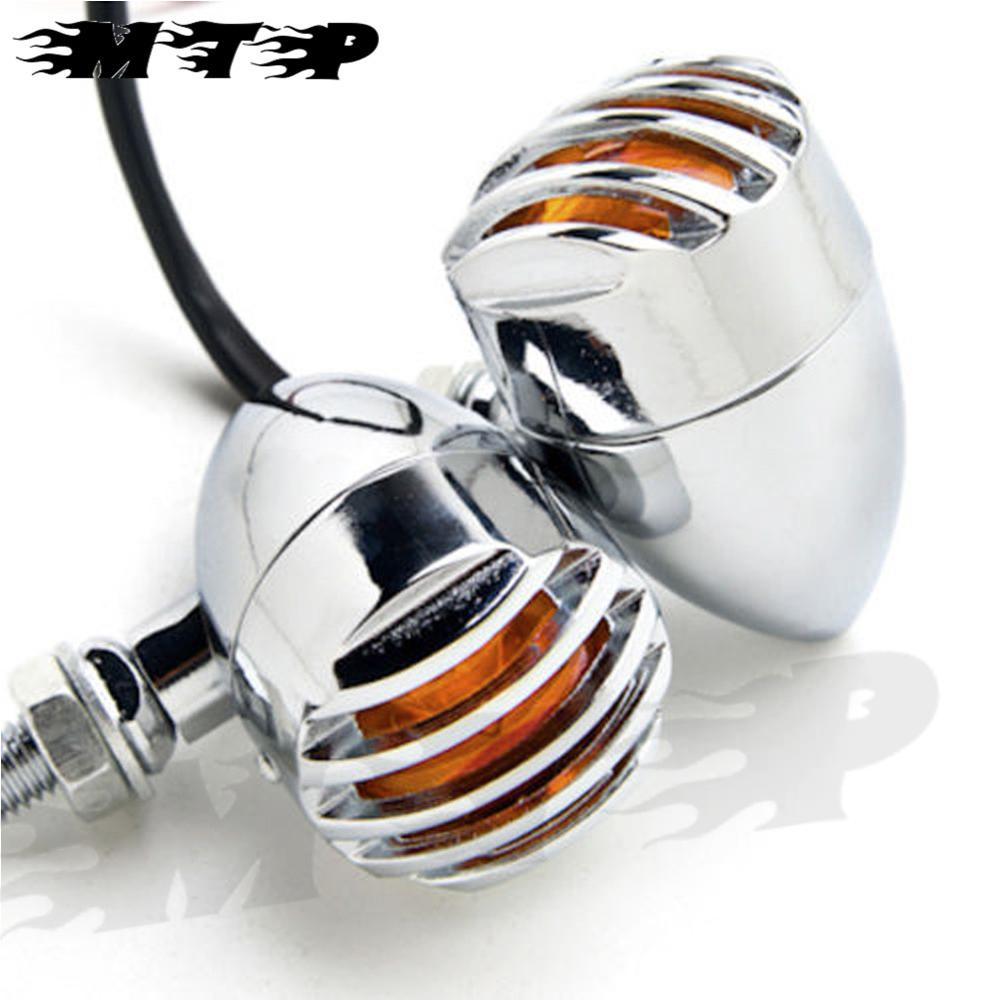 Universal Motorcycle Retro Front Rear Turn Signal Mini Bullet Blinker Amber Indicator Lights Lamp For Harley Suzuki 2Pcs Chrome