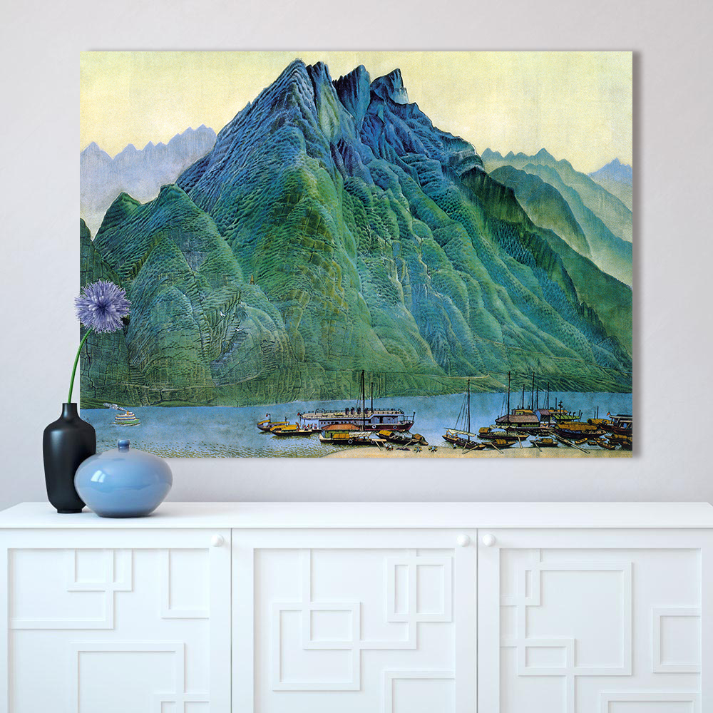 HDARTISAN Wall Art Pictures For Living Room Chinese Landscape Painting Home Decor Mountains River Boat No Frame