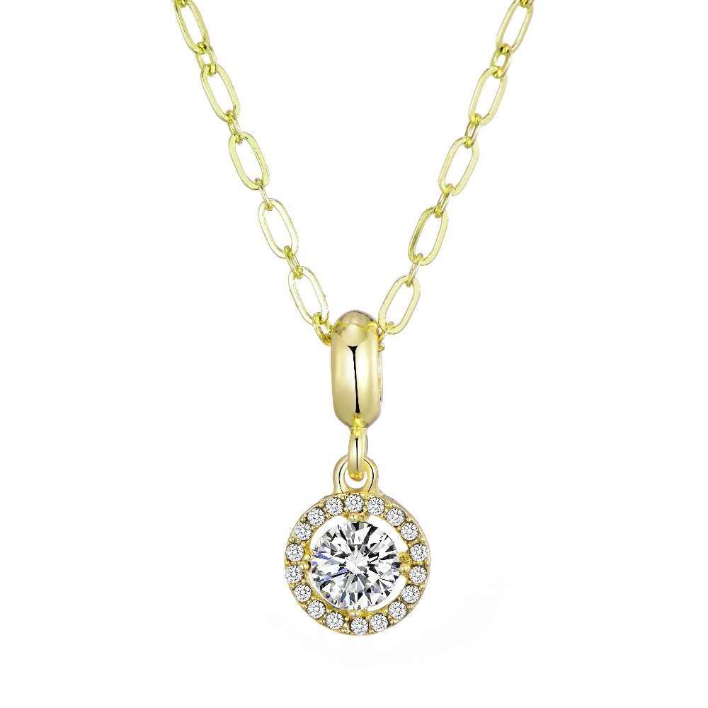 מכירה לוהטת תכשיטי תליון שרשרת עבור נשים עם זהב צבע שרשרת מפואר גדול CZ קריסטל אבן מותג שרשרת אביזרים