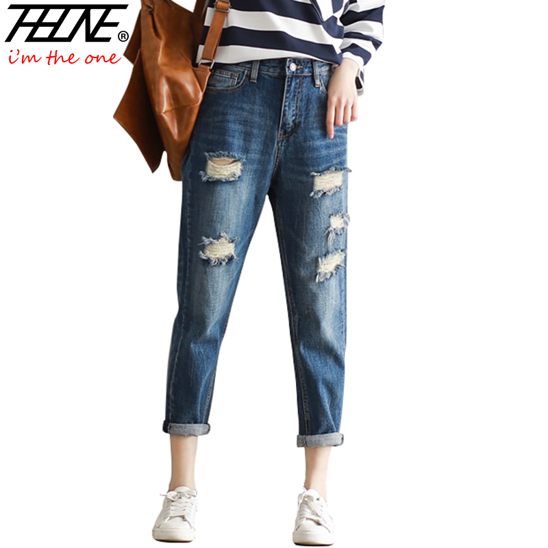 THHONE Ripped Jeans Women Denim Pants Harem Casual Trousers Holes - Women's Clothing