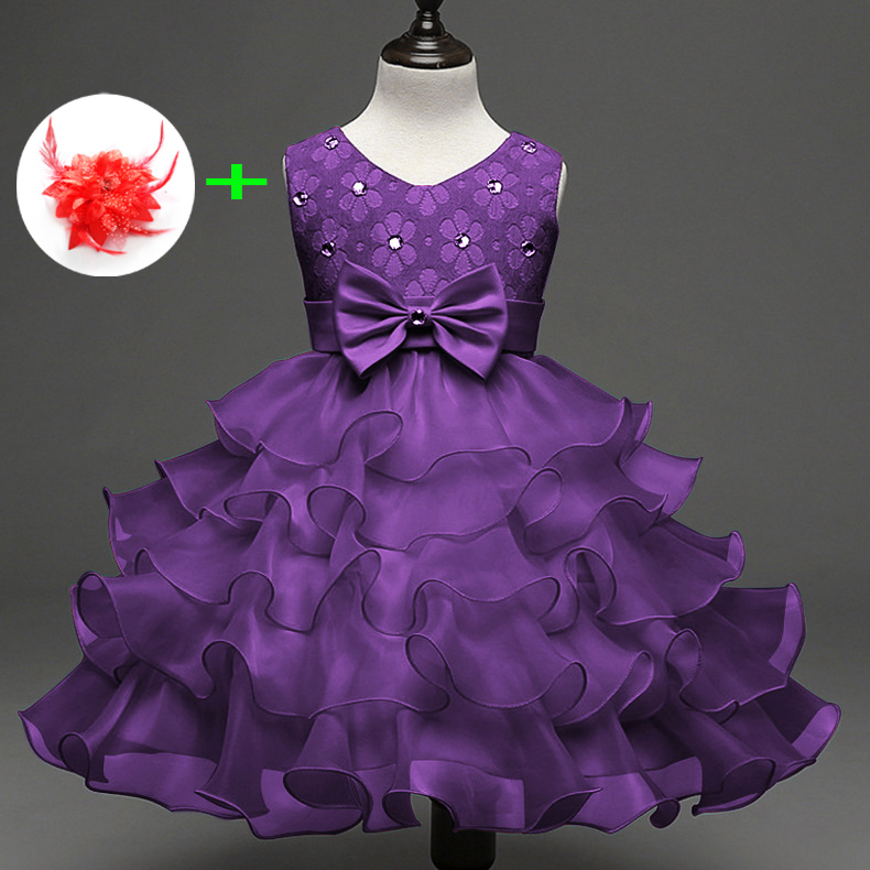 Cute Princess Wedding Party Frocks Crystal Layered Cupcake Birthday Dress 2-7 Years Kids Purple Red Pink Blue Baby Girl Dresses cute convenient cupcake style lipstick gloss pink