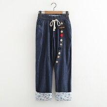 Мультфильм боковая кнопка прямые джинсовые брюки женский закатать джинсы