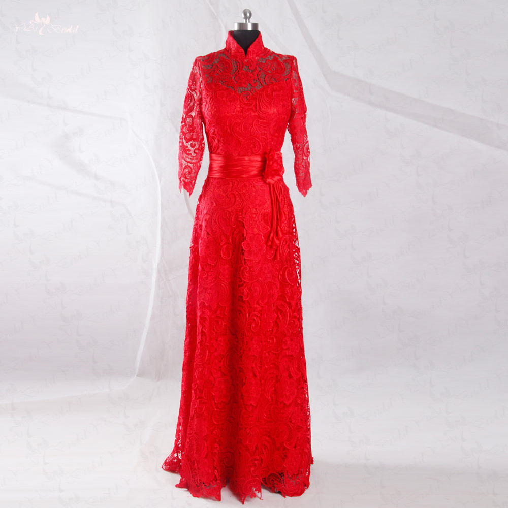 RSW952 Cheap Floow Length Beach Party Dress High Neck Venice Lace Long Sleeve Red Wedding Dress