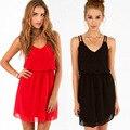 Novas mulheres da moda vestido de chiffon sexy clube vestidos de noite cinta mini preto vermelho verão das mulheres roupas profundo decote em v livre grátis