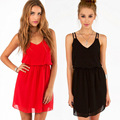 new fashion women chiffon dress sexy club dresses night strap mini black red summer women's clothing deep v neck free shipping