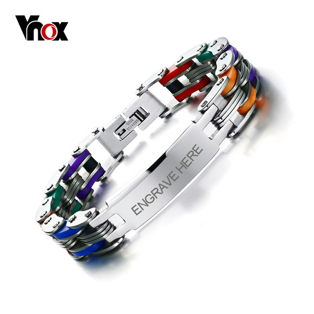 Vnox Men S Personalized Engrave Bike Bracelet Fashion Colorful Stainless Steel Chain Link Bracelets Bangles For