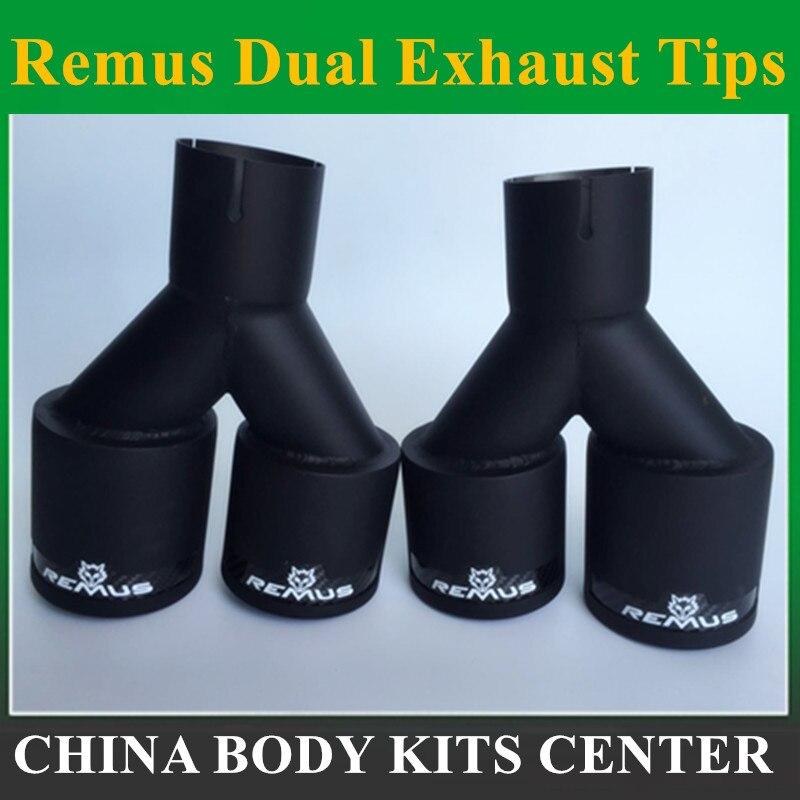 2 pièces double Remus fibre de carbone + acier inoxydable embout d'échappement tuyau d'échappement silencieux noir mat embout d'échappement