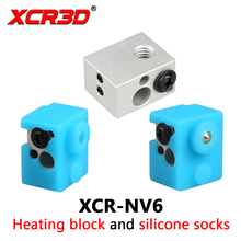 XCR-NV6 Heating Block 3D Printer with Silicone Sock 0.4mm Nozzle kit Part Replace V5 V6 aluminum heat block