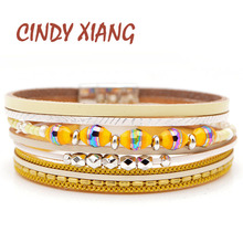 CINDY XIANG 3 Colors Choose Leather Chain Bracelets Cuff Bangles Fashion Bead Wide Bracelet For Women And Men Unisex Style Gift