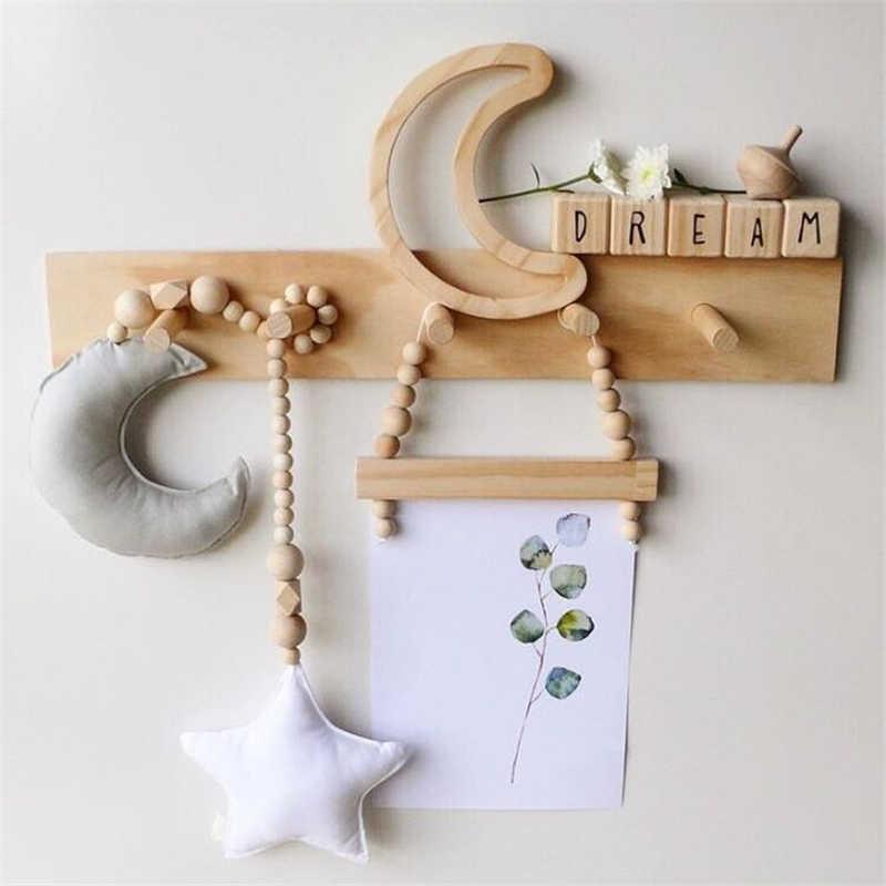 赤ちゃん装飾枕北欧ムーン星木製ビーズ弦おもちゃ子供ベッドルームベビーベッドテントの装飾品の写真撮影の小道具