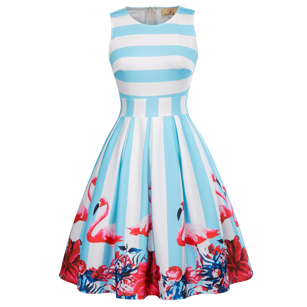 Frauen Retro Vintage Party Kleider 2018 Sommer Kleid Blumendruck ...