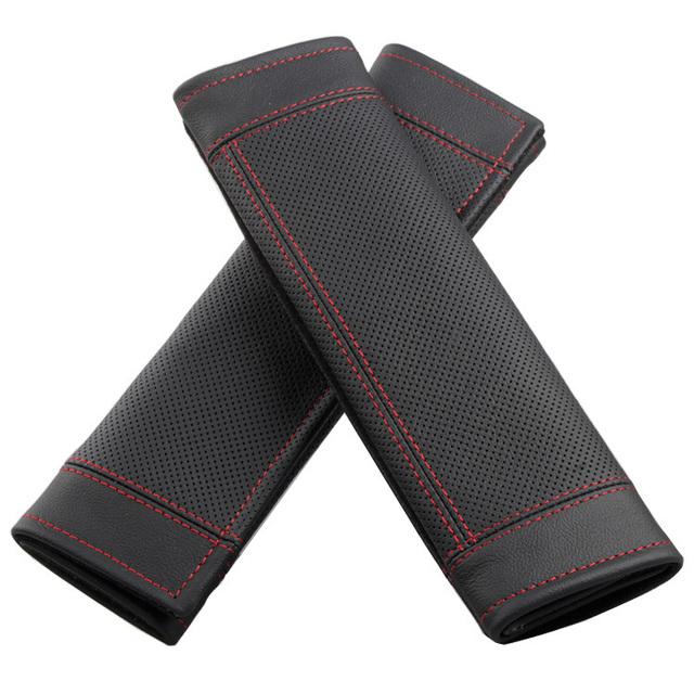 Lujo Real del cuero genuino asiento de automóvil cinturón de seguridad cubre decoración del coche 2 unids - negro