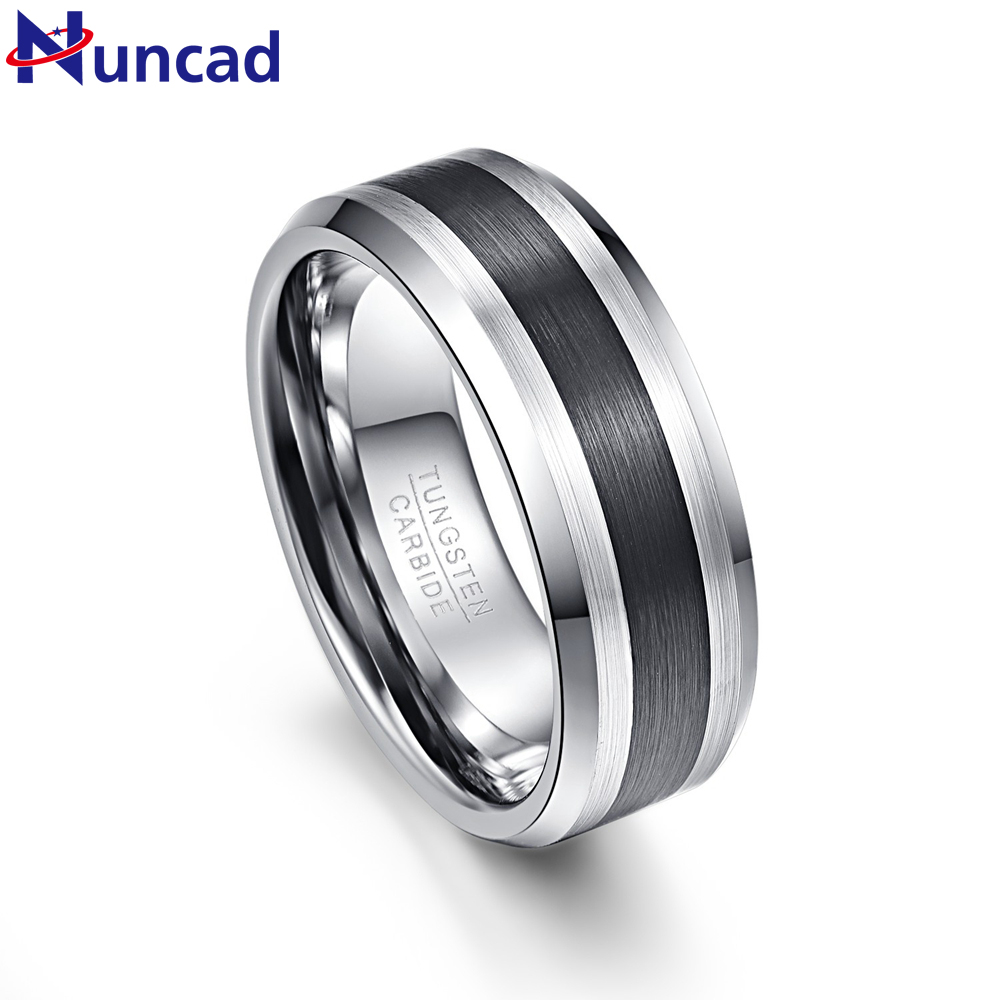 Nuncad Men s 8mm Black Brushed Finish Beveled Tungsten Wedding Rings Comfort Fit Size 7 to 12