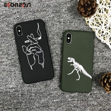 Funda de silicona EKONEDA Relief para iPhone 7 Plus funda para hombre cigarrillo dinosaurio suave para iPhone 6 S 8 Plus XS Max XR caso(China)