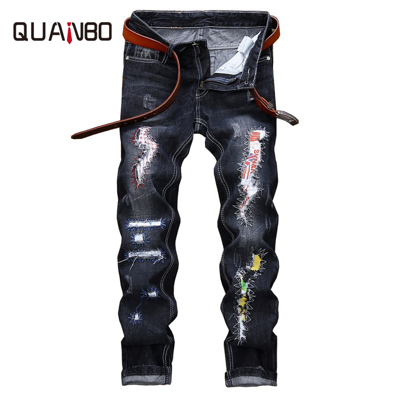 QUANBO Hot Sale 2019 Arrival New Men Jeans Street Ripped Jeans Patch Straight  Beggar Patch Blue Mens Jeans Plus Size 42