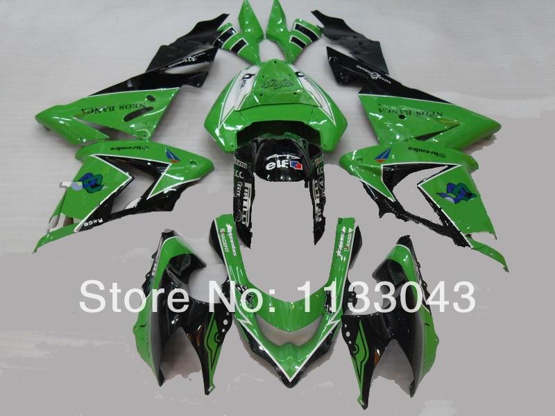 ộ_ộ ༽Kits de carenado negro verde para Kawasaki Ninja ZX10R 08-09 ...