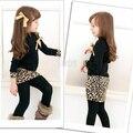 La niña de manga larga vestido de invierno sweet children \'s leopard patchwork vestido caliente