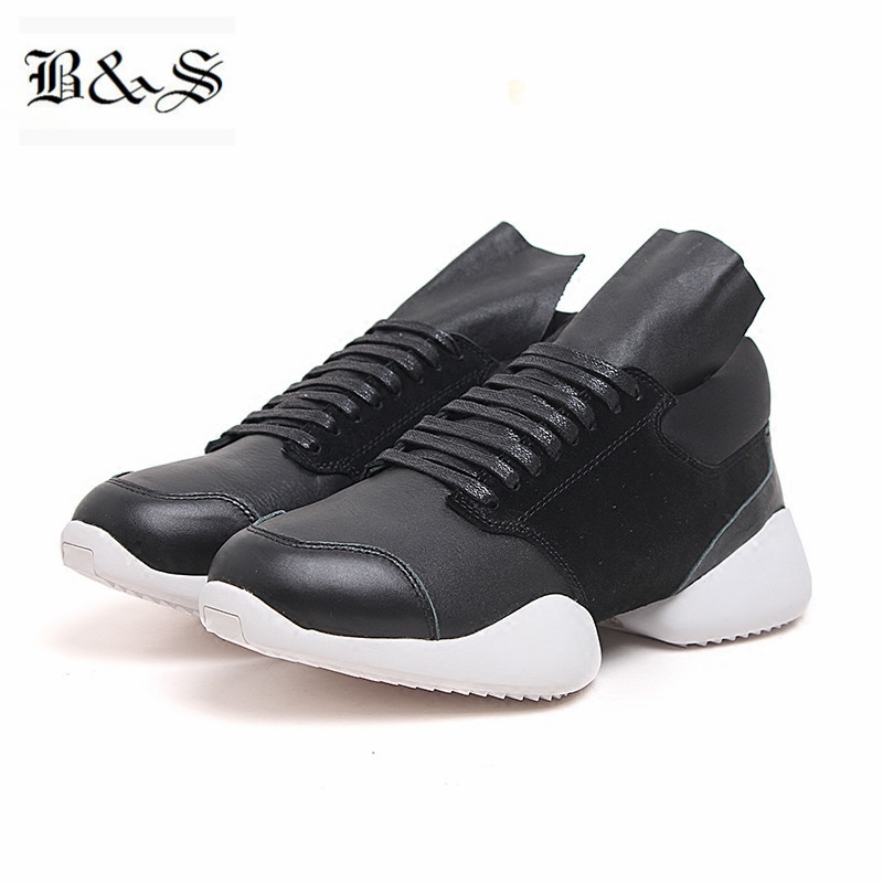 Black& Street 2018 Punk Fashion Trend Genuine Leather Thick Sole Platform Boots  Rock Trainer leisure Horseshoe heel Boots