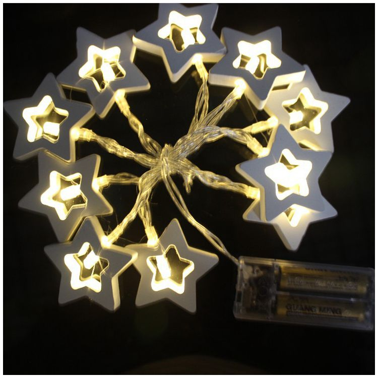BIFI-1.2M Wooden Star 10 LED Fairy String Lights Battery Operated Indoor and Outdoor Decoration(White)