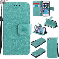 Luxury Flip Art Green Flower Cover For Apple Iphone 5 5s Se 4 0 Leather Protective
