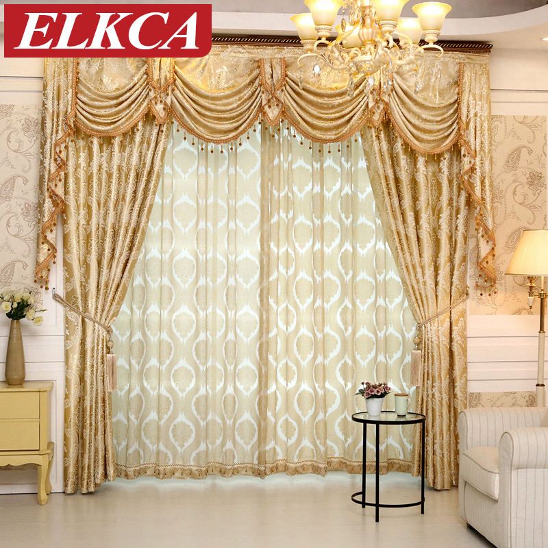 1 PC European Golden Royal Luxury Curtains for Bedroom ...