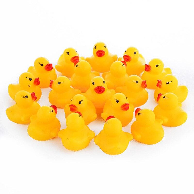 100 unids/lote bebé Kawaii flotante juguete patos de goma de los niños juguetes de baño para niños niñas piscina de agua divertido de jugar. juguete