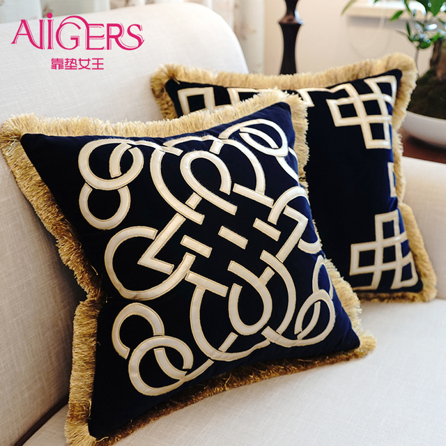 Avigers Luxury Cushions Cover Embroidered Tassel Velvet