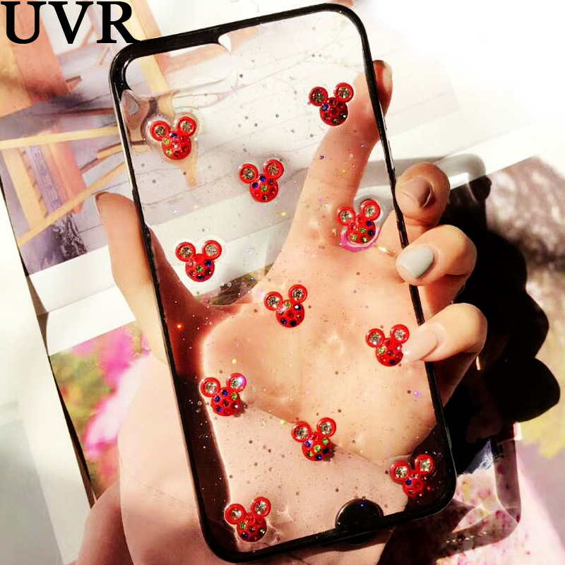 UVR 3D Cute Mickey Head coloured diamond glue Couple Case Cover Carcasa Funda Coque for iPhone X 6 6S 7 8 Plus Clear Cover Shell