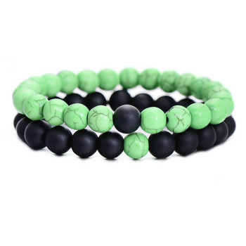 Classic Natural Stone Yin Yang Beaded Bracelets, 2Pcs/Set Bracelets Jewelry New Arrivals Women Jewelry Metal Color: green black