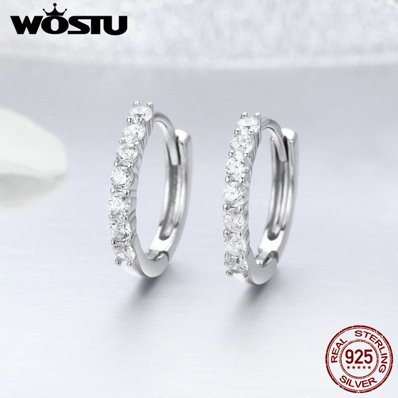 WOSTU Hot Sale Real 925 Sterling Silver Dazzling CZ Hoop Earrings for Women Fashion Brand S925 Silver Jewelry Gift FIE351 wostu brand original 925 sterling silver lucky sunflower drop earrings for women female fashion earring jewelry gift dxe461