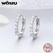 6450f390ad2e WOSTU Venta caliente Real 925 plata esterlina deslumbrante CZ Hoop  pendientes para las mujeres de la marca de moda S925 regalo d.