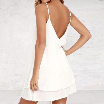Lossky женское летнее шифоновое платье с открытой спиной, сексуальное мини-платье на бретельках, повседневные свободные платья, модное женское черное красное платье для девочек 5