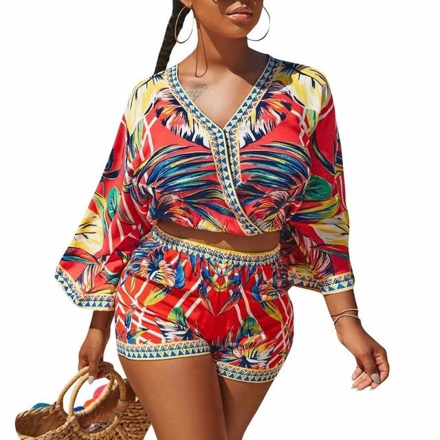 64ca0ac98b HAOOHU Sexy 2 Piece Set Women Floral Print Boho Beach Crop Tops+Bodycon Shorts  Sweat