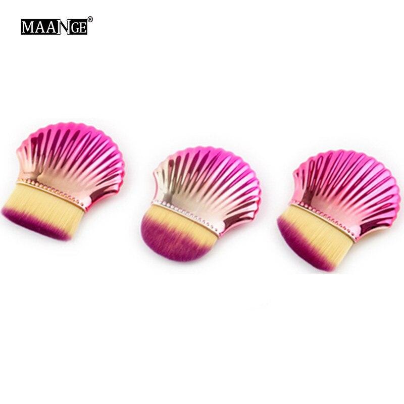 3Pcs Shell Makeup Brushes Contour Concealer Blush Brush Cleaner Make Up Tools Beauty Blue Pink Loose Powder Foundation Brush