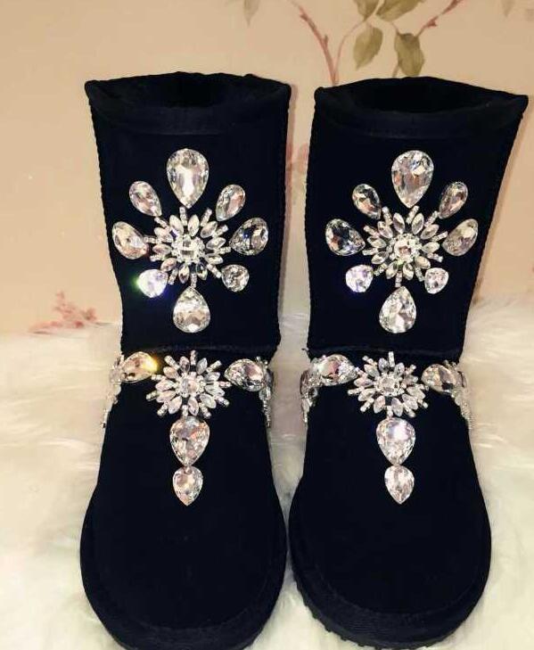 Tchèque Strass Femme Artisanale Fabrication En Taille Mode Lourde Grande Bottes Diamant L'industrie Noir De Vachette Tube Neige Cuir Uq6n6f