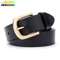 GUIZUE New Fashion Design Luxury Brand Belt For Mens Casual Jeans Genuine Leather Solid Brass Pin