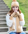 2015 New Fashion Winter Hats for Women Snow Patterns Scarf, Hat, Gloves Set Women Winter Sacrves and Hats