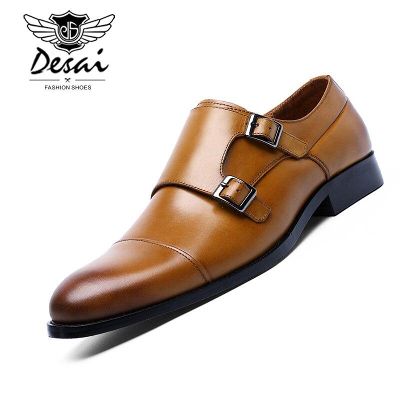 DESAI Brand Genuine Leather Double Buckles Men s Dress Shoes Formal Men Monk Shoes Oxford Shoes