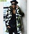 Новый стиль 2015 года. Мужское длиннополое пальто из искусственного меха кролика. Окраска корейский камуфляж. Бесплатная доставка.
