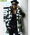 2016 New fashion Men's Faux fur coat  Camouflage warm rabbit warm jacket mens winter leather jackets Lapel outdoors windbreaker