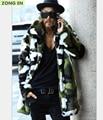 2016 Novos homens da moda da pele Do Falso casaco quente Camuflagem jaqueta mens jaquetas de couro do inverno quente coelho Lapela windbreaker ao ar livre