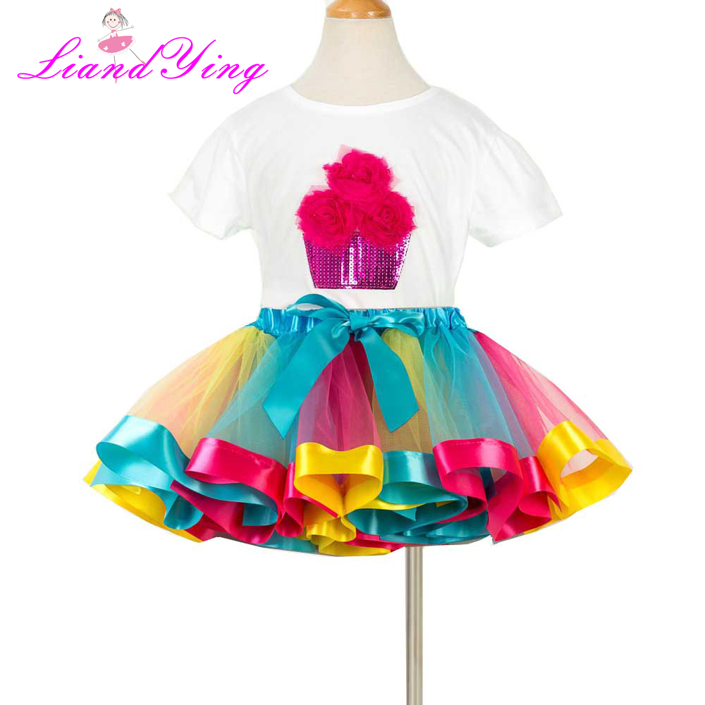 30f5a9cdd Rainbow Ribbon Tutu Set First Birthday Dress New Summer Colorful Tutu  Clothing Sets Birthday Outfit -in Clothing Sets from Mother & Kids on  Aliexpress.com ...