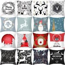 Santa Claus Christmas Tree home decorative cushion cover Nordic Style Cartoon Printing pillowcase Square Suede throw pillow case christmas tree printed decorative thick throw pillowcase