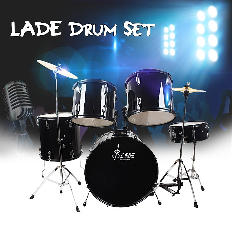 LADE Iron-plating 5 PC Cymbal Hi-hat Jazz Drum Kit Set with Stand Pedal For Drum Musical Percussion Instruments Lovers Gift хай хэт и контроллер для электронной ударной установки roland fd 9 hi hat controller pedal