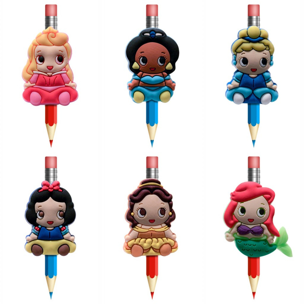 8Pcs Kawaii Princess Pencil Topper Straw Charm Pen Holders Stationary Office Students Supplies Pencil Grip Kids Gifts